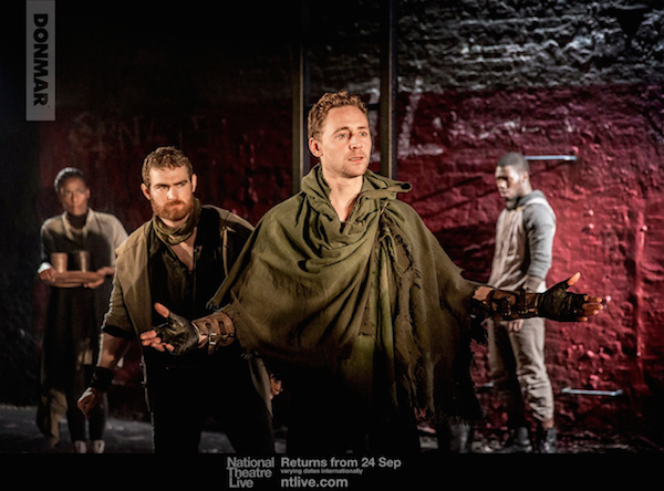 © Watermarked Second Citizen (Mark Stanley) and Coriolanus (Tom Hiddleston). Photo by Johan Persson.